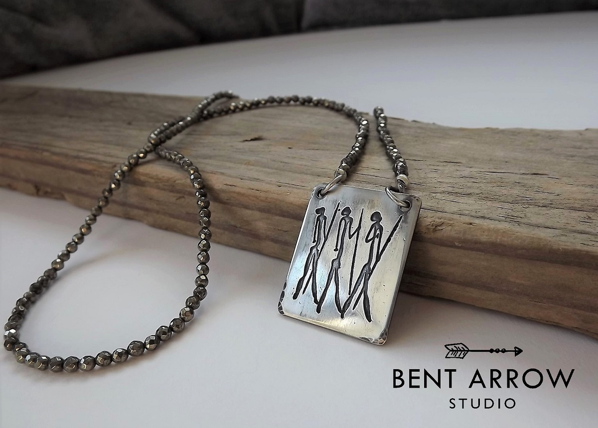 bent silver warriors arrow shop pyrite sterling warrior relics studio necklace collections