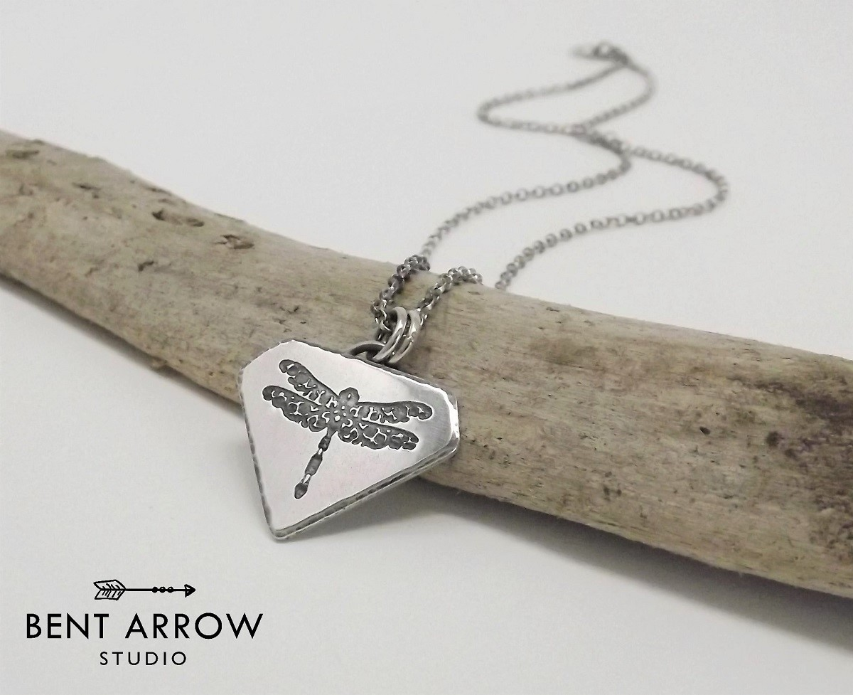 5b2693677 Sterling Silver Dragonfly Pendant Necklace - Bent Arrow Studio